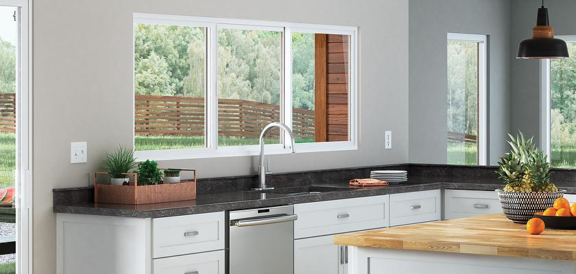 Trinsic Series vinyl double horizontal sliding window