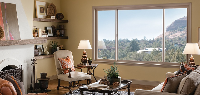 Tuscany Series vinyl double horizontal slider window in tan