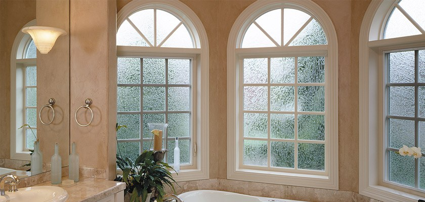 Ultra Series fiberglass radius windows with glue chip obscure glass