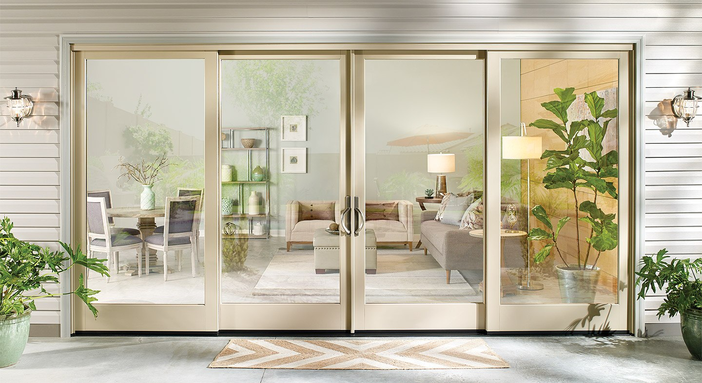 Essence Series wood 4-panel sliding patio door