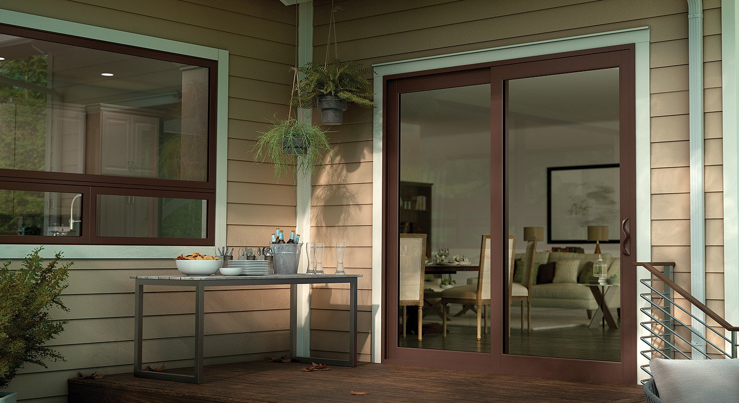 Tuscany Series vinyl sliding patio door in Classic Brown