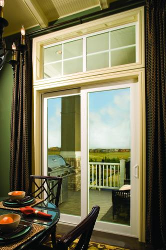 Tuscany Series sliding patio door with picture window above