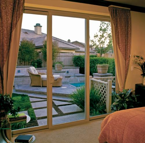 Tuscany Series Sliding Glass door with SmartTouch Handle/Lock in Tan