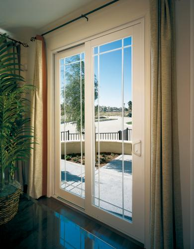Tuscany Series Sliding Glass door with SmartTouch Handle/Lock in white with perimeter grids