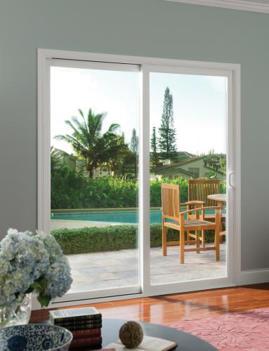Tuscany Series Sliding Glass door with SmartTouch Handle/Lock in white