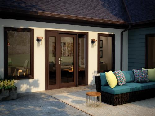 Tuscany Series French patio door with operable sidelites in Classic Brown