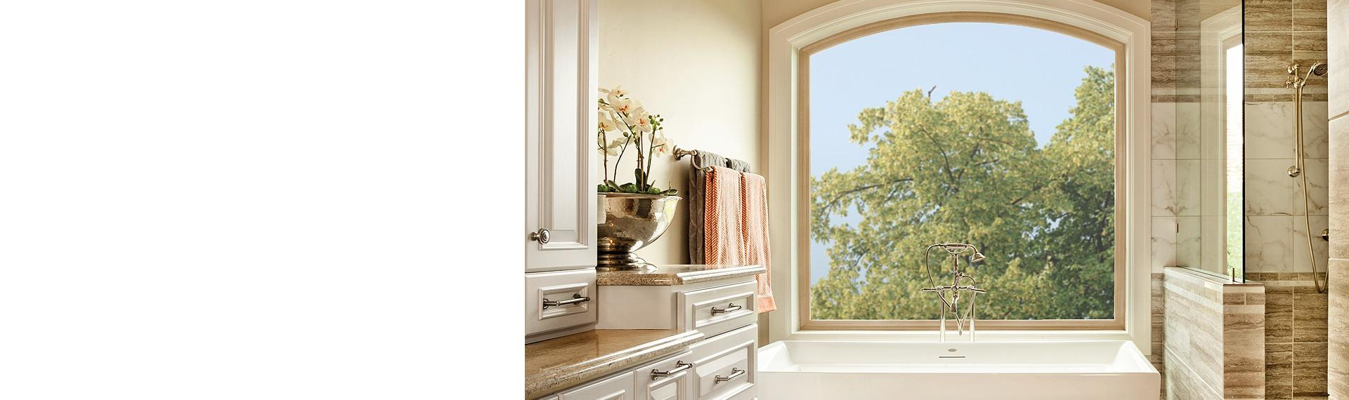 Tuscany Series vinyl radius window in tan