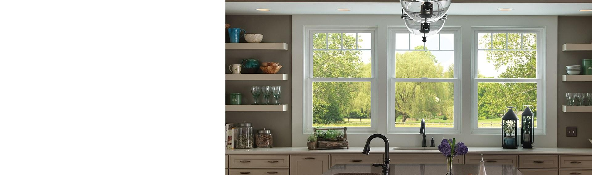 Tuscany Series vinyl single hung windows with valance grid