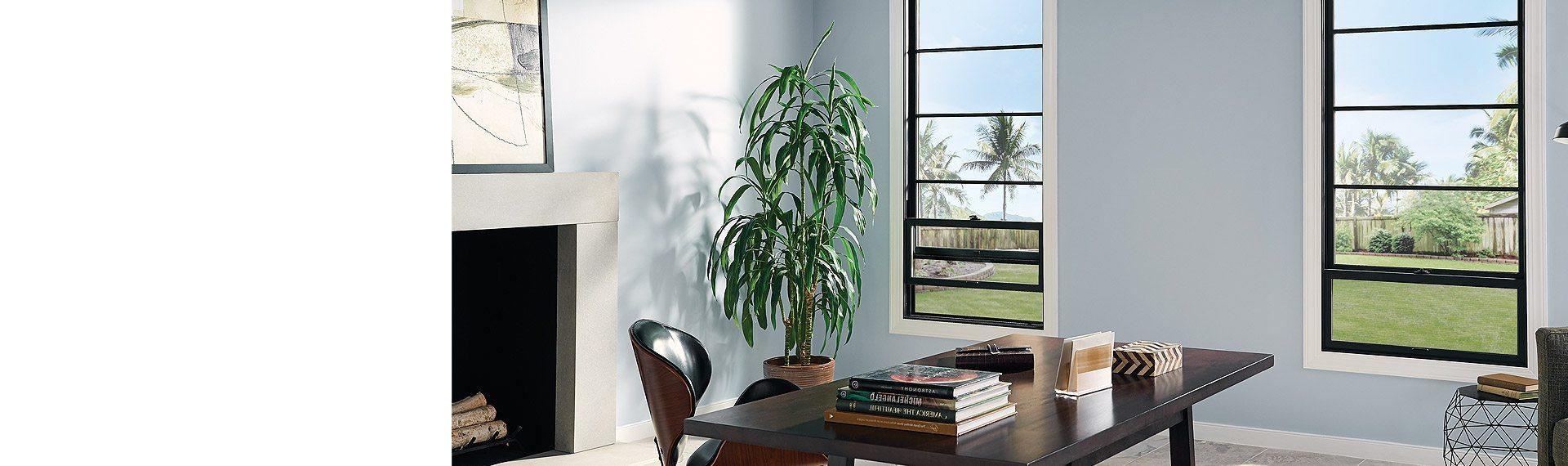 Ultra Series fiberglass single hung windows in black bean