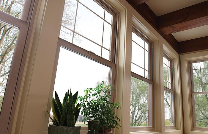 Tuscany Series double hung windows in tan