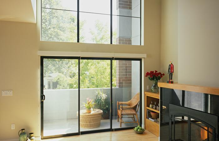 Aluminum Series 3-panel sliding door in dark bronze anodized