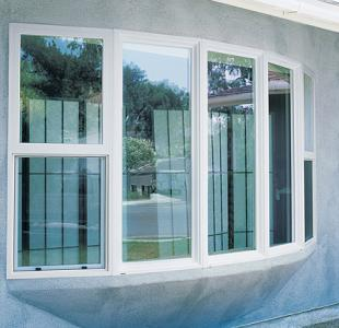 5-panel bow window with single hung windows