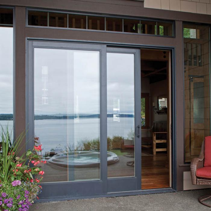 Sliding patio doors wood vinyl fiberglass aluminum for Fiberglass french patio doors