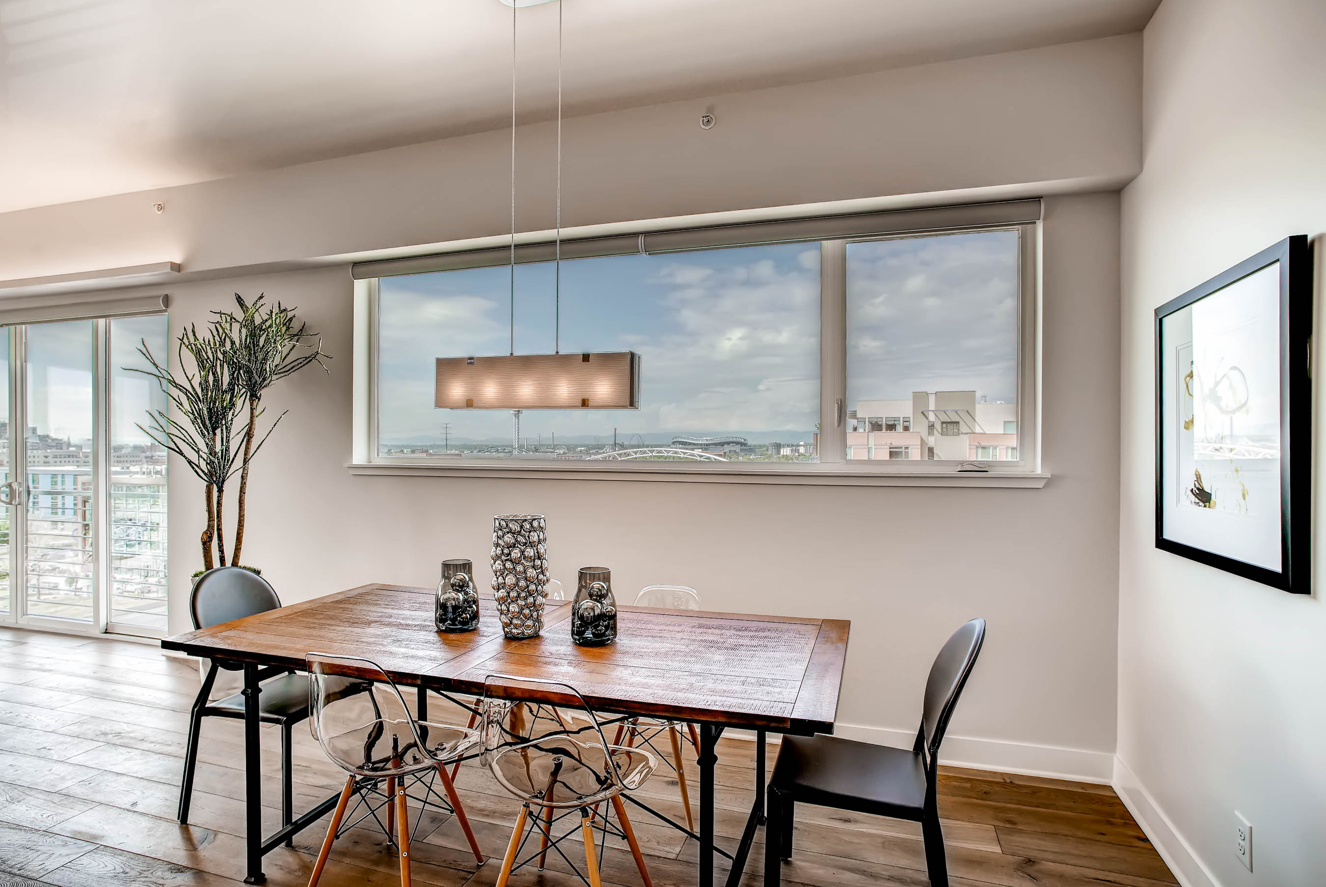Horizontal Sliding window over dining room table