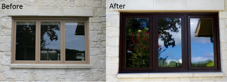 Wood only windows replaced with a wood interior fiberglass exterior.
