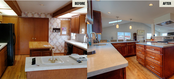 Before and after kitchen remodel photos