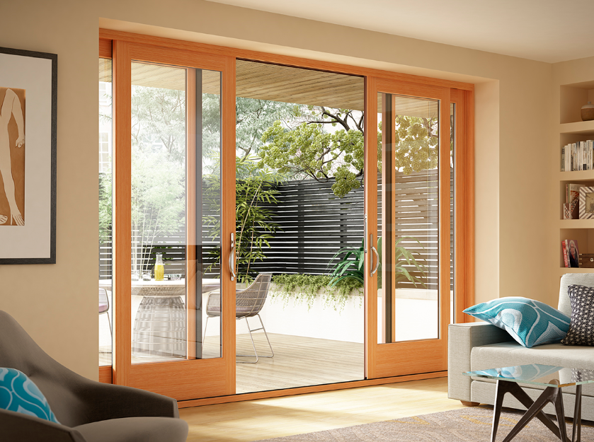 Wood sliding glass patio doors