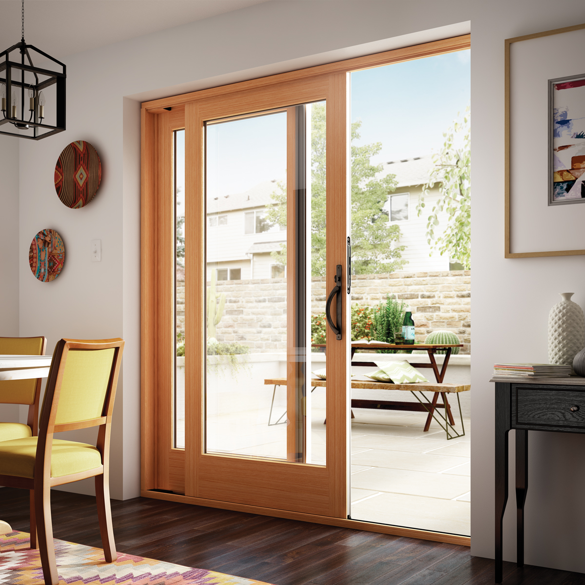 Stunning wood patio door