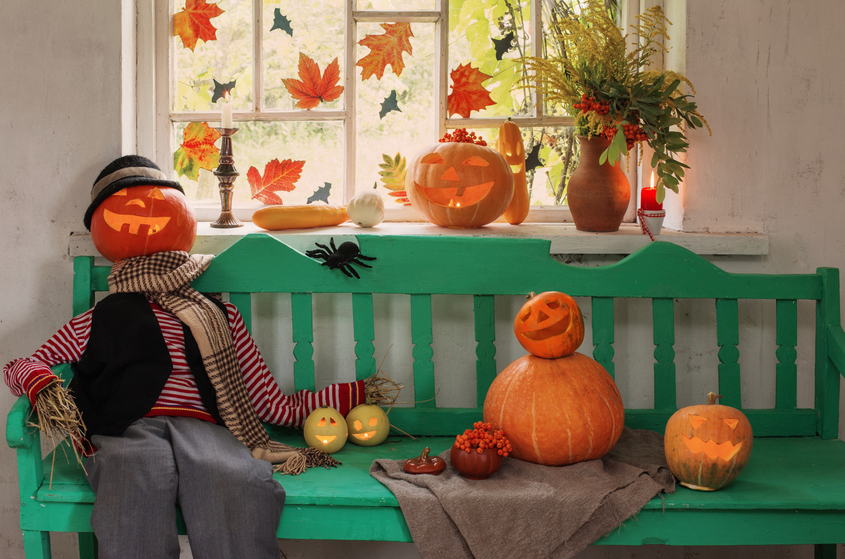 Expand your Halloween Window Decorations with a Bench