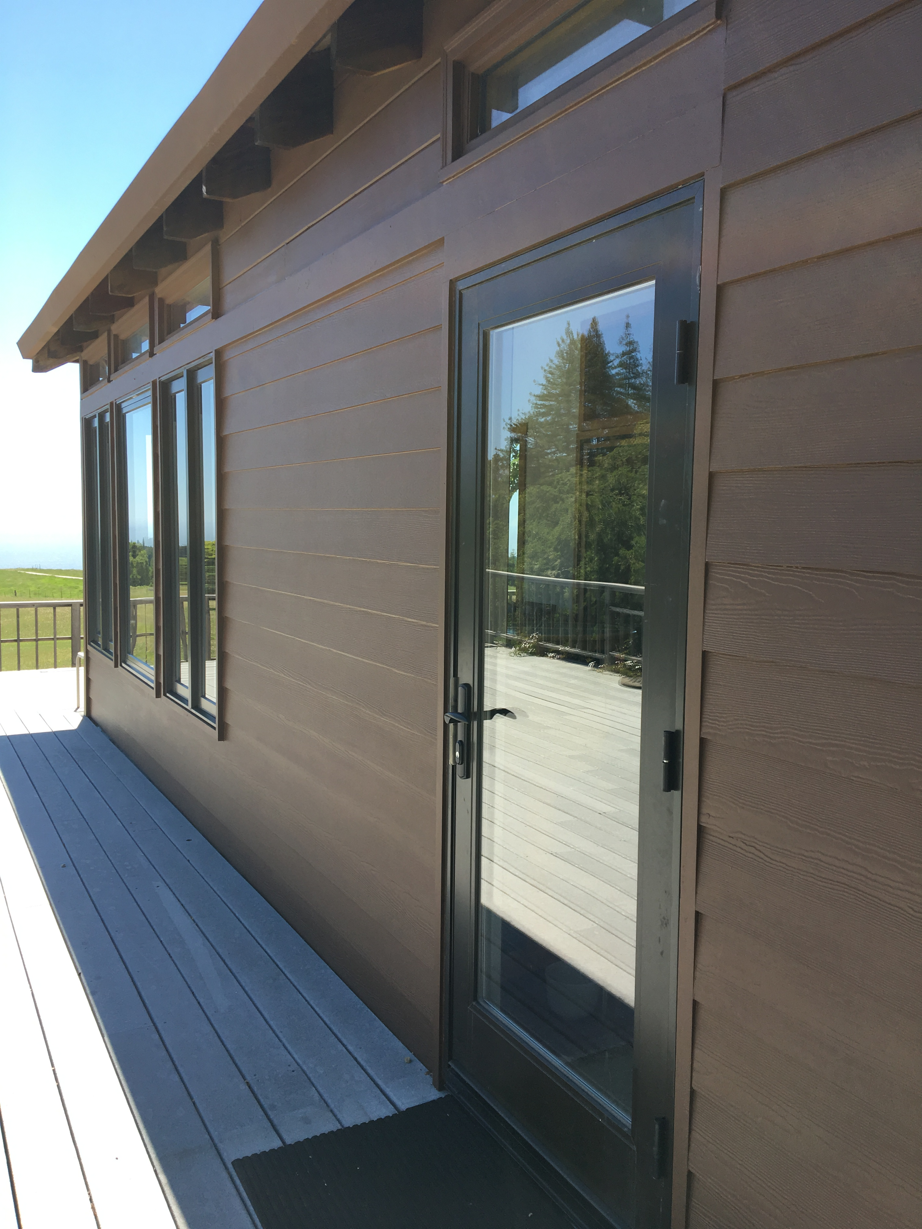 wood patio door with fiberglass exterior and custom color
