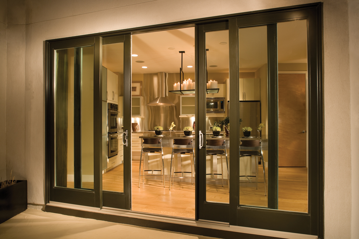 Fiberglass sliding patio door dark frames