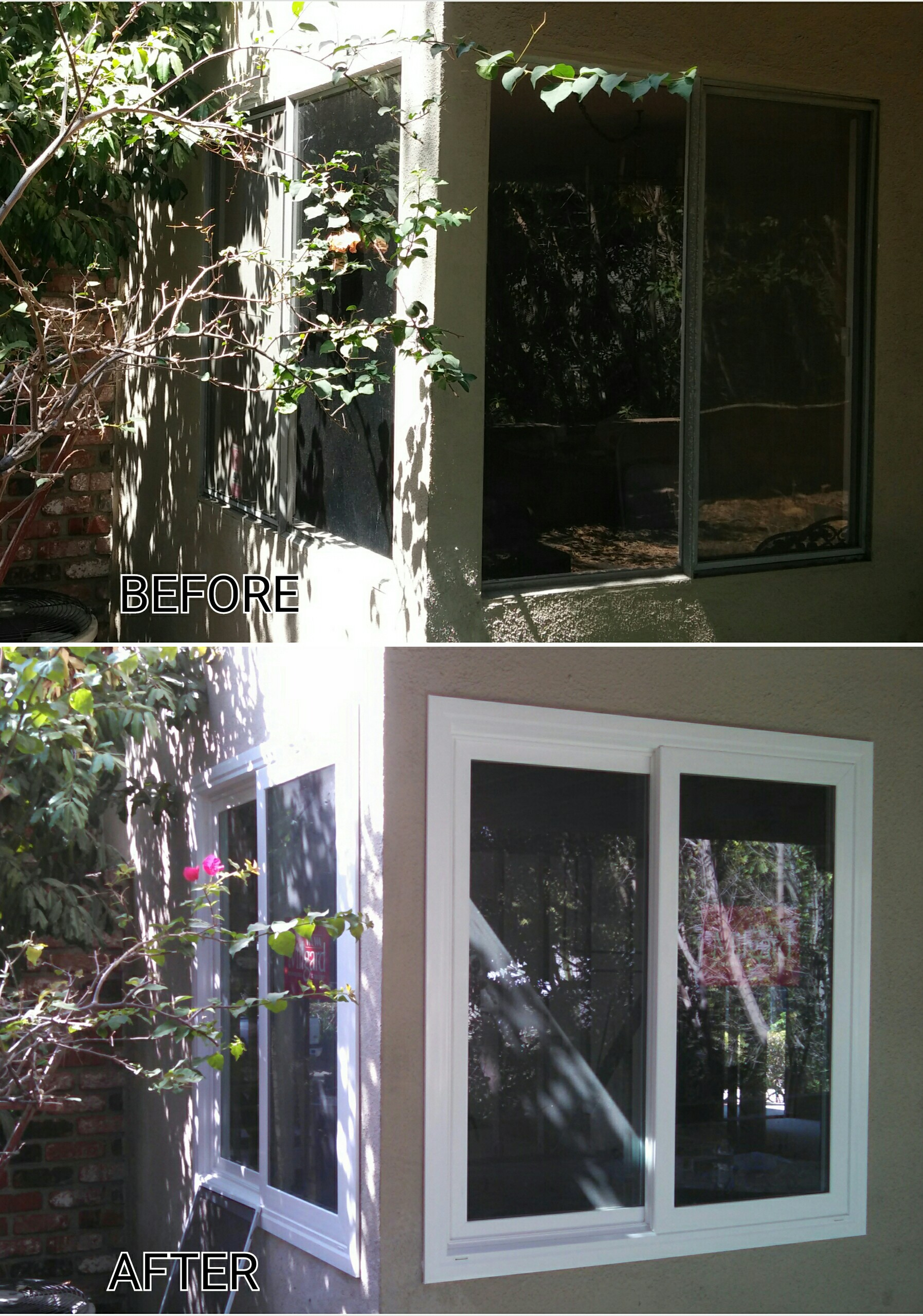 before and after shot of replacement horizontal window