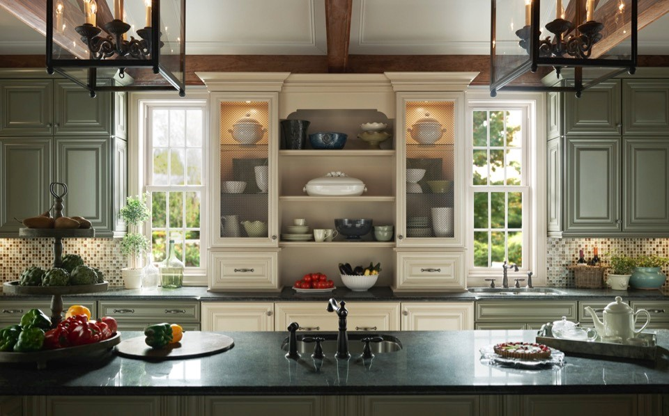 Narrow Windows Tucked Between Cabinets  What if you might have some room for windows, but not much? Try adding narrow windows tucked between upper cabinets and shelves to bring much needed natural light into your kitchen area. This can provide natural lighting to any kitchen space.