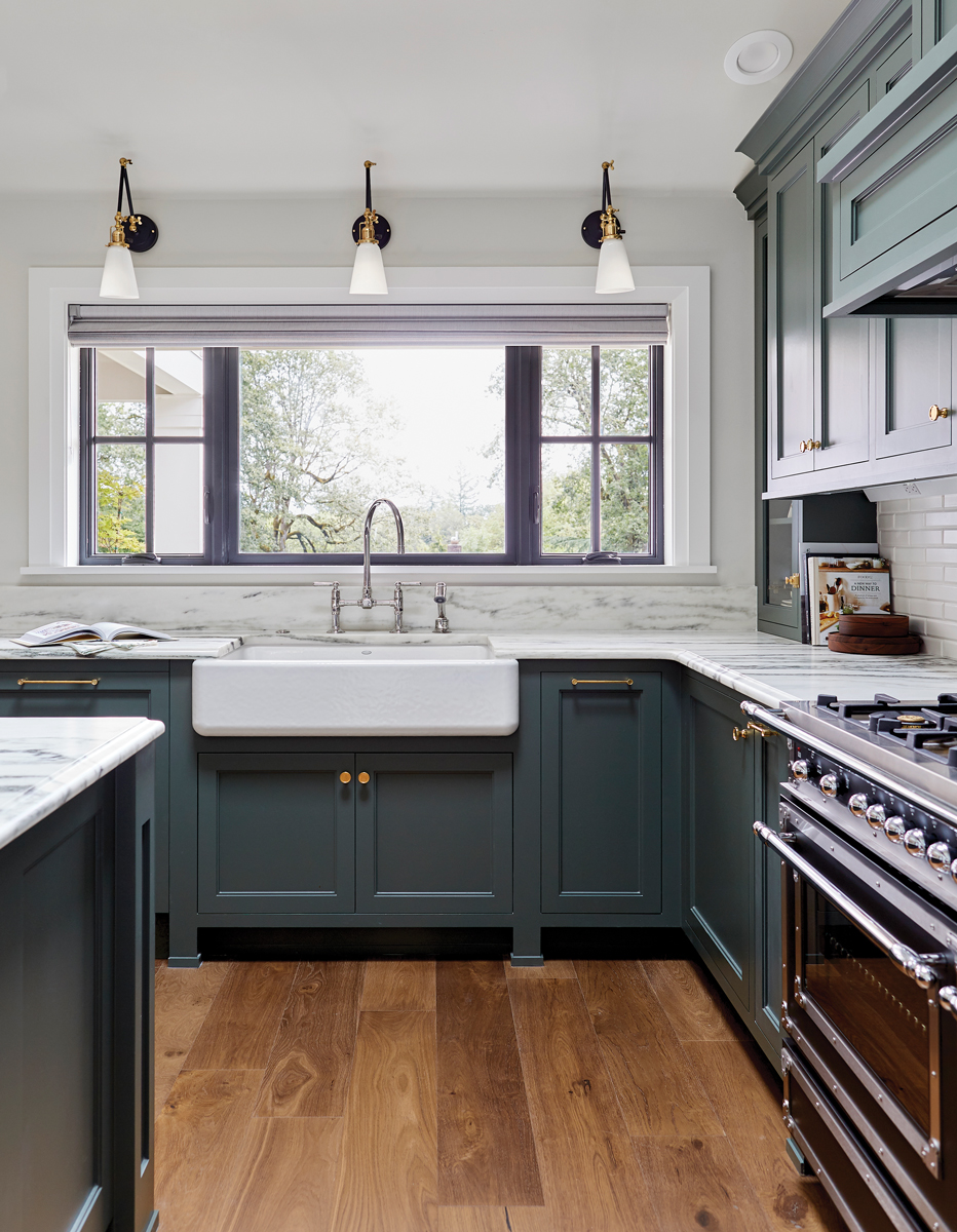 Black combination kitchen windows with grids on both sides.